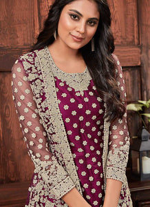 Wine Heavy Embroidered Jacket Style Salwar Suit 3