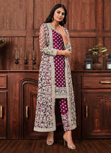 Load image into Gallery viewer, Wine Heavy Embroidered Jacket Style Salwar Suit