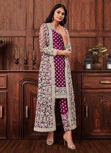 Wine Heavy Embroidered Jacket Style Salwar Suit