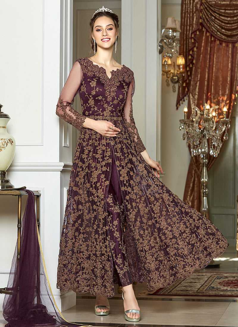 Wine and Gold Heavy Embroidered Lehenga/ Pant Style Anarkali