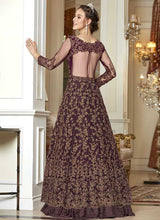 Load image into Gallery viewer, Wine and Gold Heavy Embroidered Lehenga/ Pant Style Anarkali 3