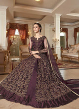 Load image into Gallery viewer, Wine and Gold Heavy Embroidered Lehenga/ Pant Style Anarkali 4