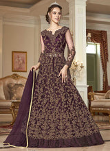 Load image into Gallery viewer, Wine and Gold Heavy Embroidered Lehenga/ Pant Style Anarkali