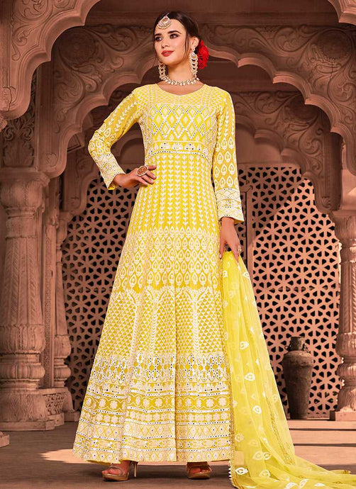 Yellow Color Heavy Embroidered Gown Style Anarkali