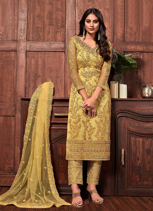 Yellow Color Heavy Embroidered Pant Style Suit