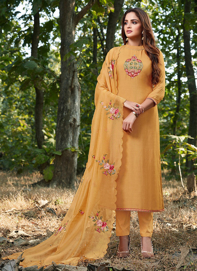 Yellow Embroidered Straight Pant Style Suit