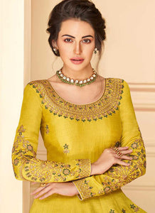 Yellow Floral Heavy Embroidered Kalidar Anarkali Suit
