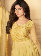 Load image into Gallery viewer, Yellow Heavy Embroidered Kalidar Gown Style Anarkali