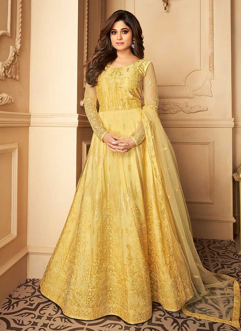 Yellow Heavy Embroidered Kalidar Gown Style Anarkali