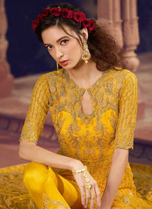 Yellow Heavy Embroidered Pant Style Anarkali