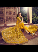 Load image into Gallery viewer, Yellow Heavy Embroidered Pant Style Anarkali