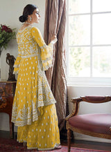 Load image into Gallery viewer, Yellow Heavy Embroidered Sharara Style Suit