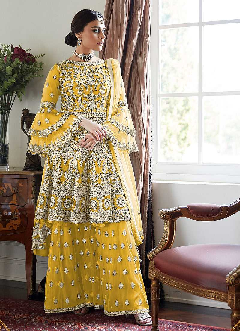 Yellow Heavy Embroidered Sharara Style Suit