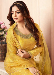 Yellow and Gold Embroidered Sharara Style Suit 2