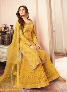 Yellow and Gold Embroidered Sharara Style Suit 3