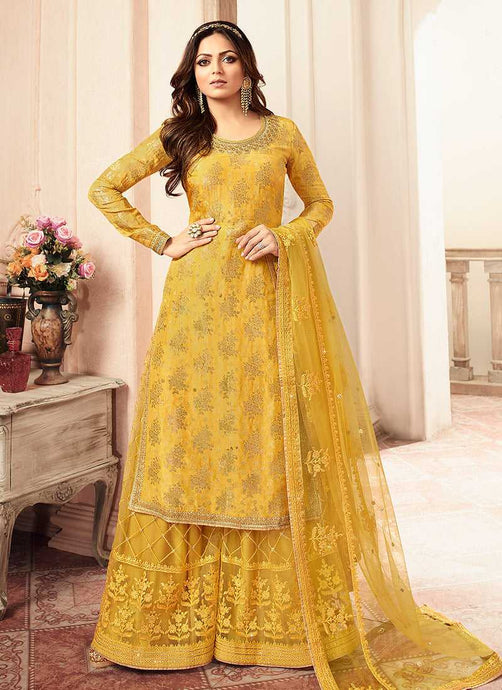 Yellow and Gold Embroidered Sharara Style Suit