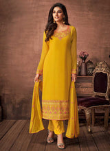 Load image into Gallery viewer, Yellow and Gold Embroidered Straight Pant Style Suit