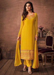Yellow and Gold Embroidered Straight Pant Style Suit