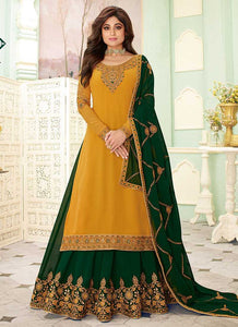 Yellow and Green Embroidered Lehenga Style Anarkali Suit