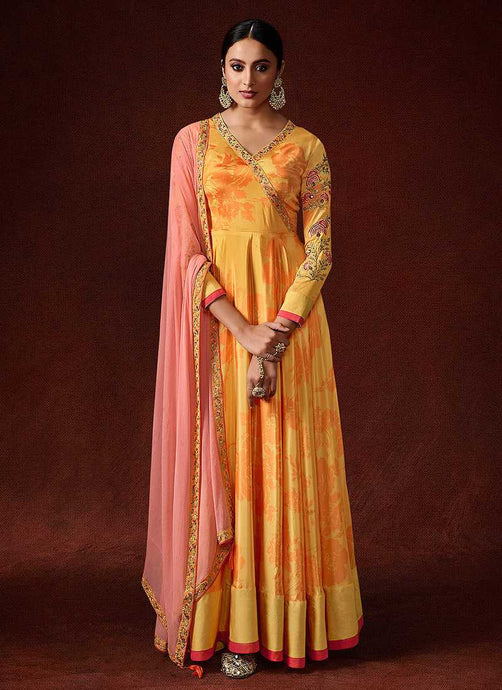 Yellow and Pink Embroidered Anarkali Style Gown