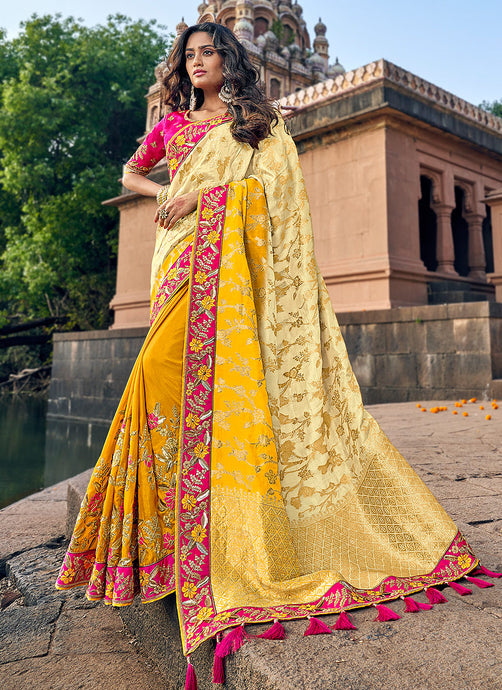 YellowandPinkEmbroideredBollywoodStyleSaree