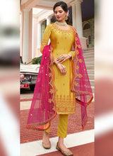 Load image into Gallery viewer, Yellow and Pink Heavy Embroidered Lehenga/ Pant Style Suit