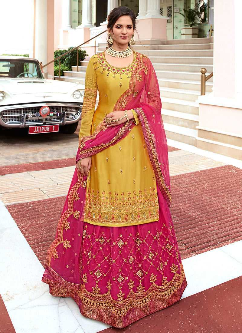 Yellow and Pink Heavy Embroidered Lehenga/ Pant Style Suit