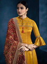 Load image into Gallery viewer, Yellow and Red Kalidar Embroidered Plazzo Style Suit 2