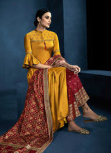 Load image into Gallery viewer, Yellow and Red Kalidar Embroidered Plazzo Style Suit 3