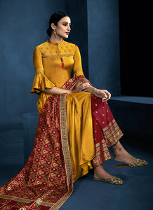 Yellow and Red Kalidar Embroidered Plazzo Style Suit 3