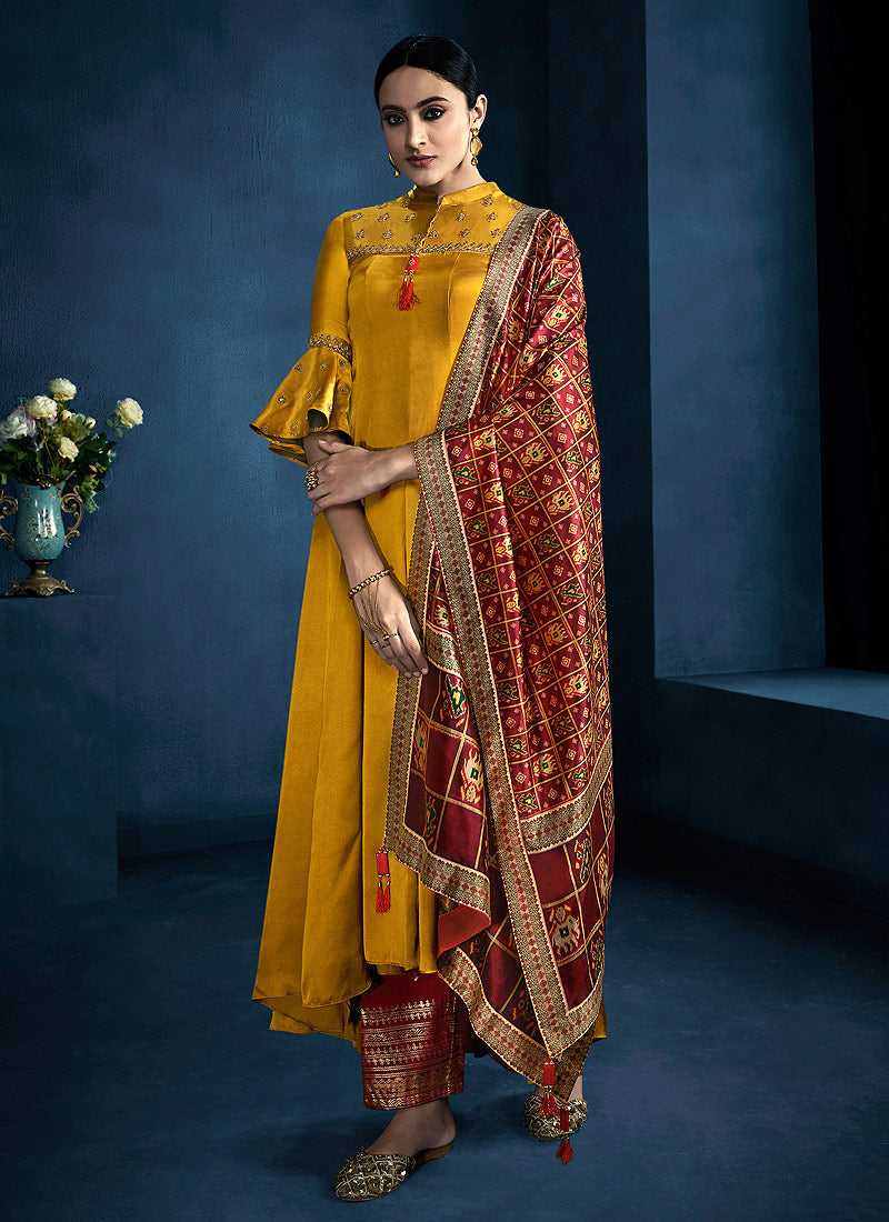 Yellow and Red Kalidar Embroidered Plazzo Style Suit