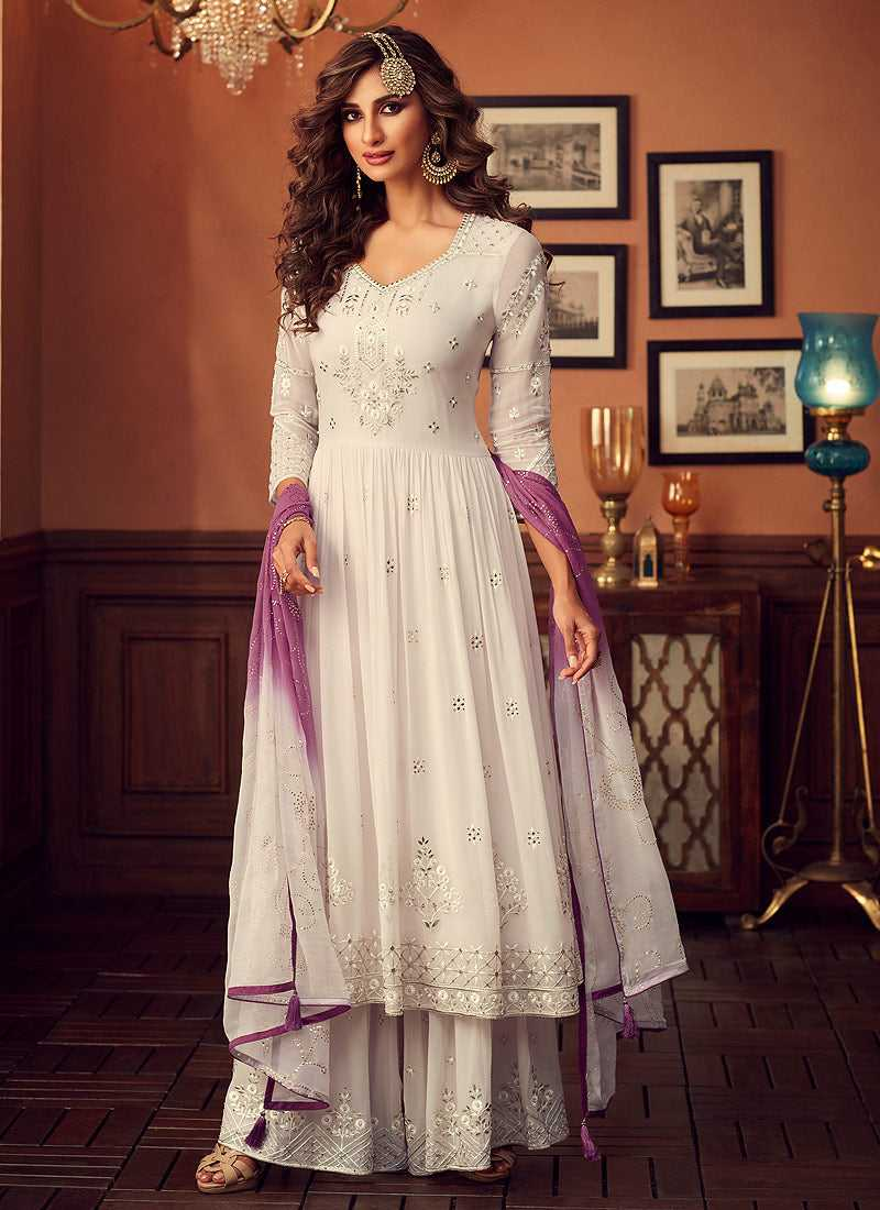 white and Purple Heavy Embroidered Sharara Style Suit