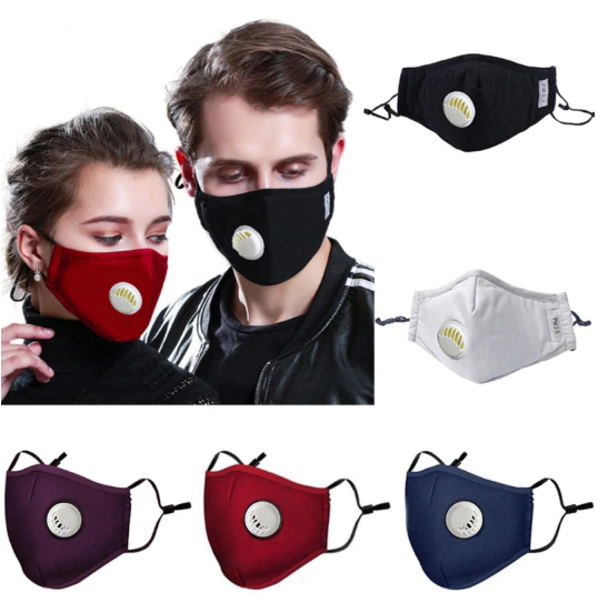 Washable Mask with valve for Easy Breathing and Two Filters!
