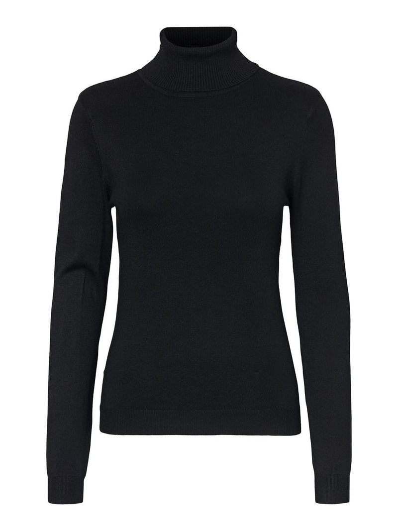 Glory High Polo Neck Top In Black