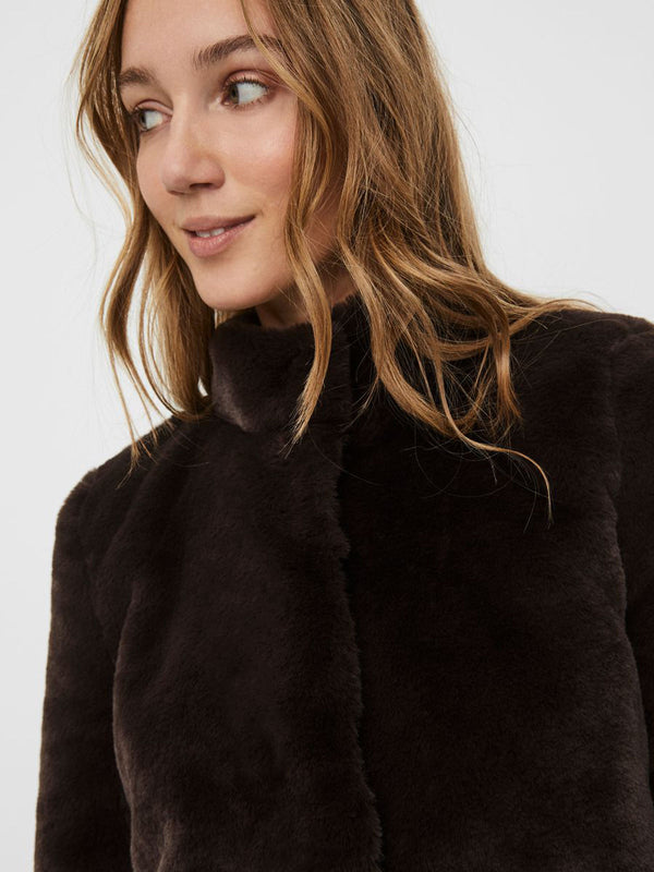 Thea Short Faux Fur Jacket In Brown
