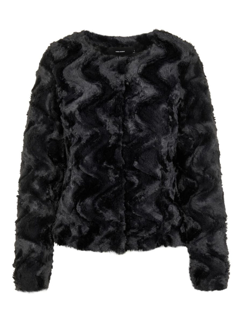 Curl Faux Fur Jacket In Black