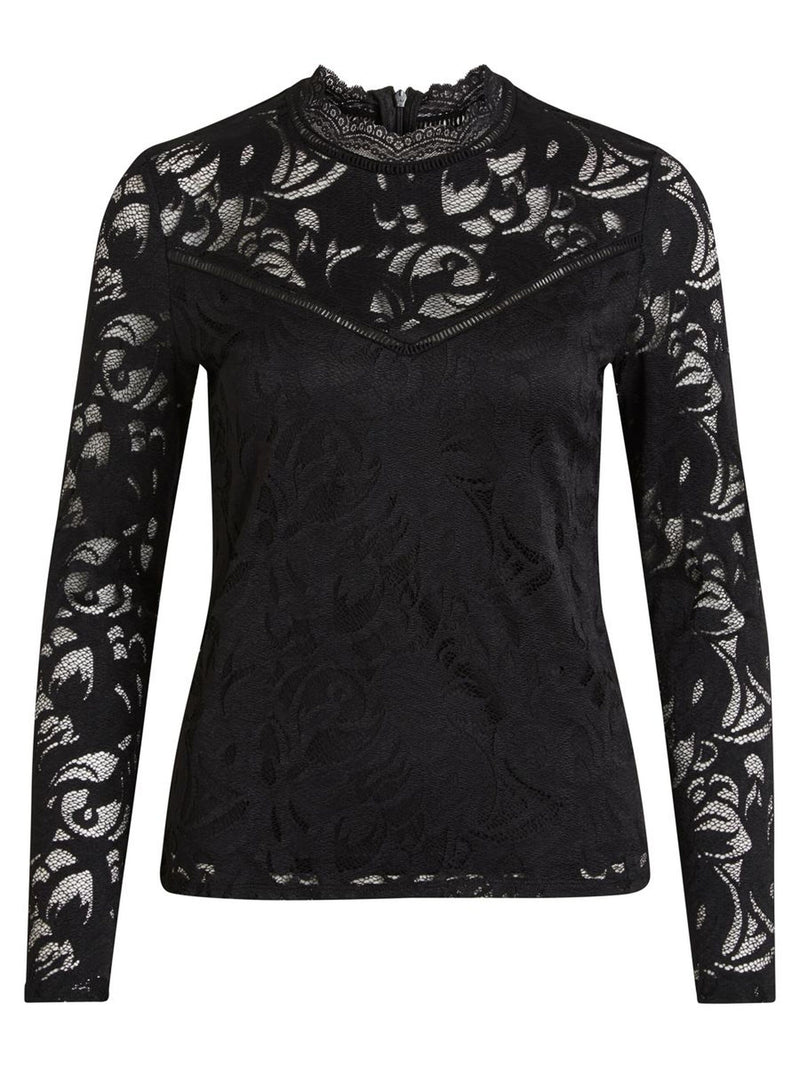 Stasia Lace Top In Black