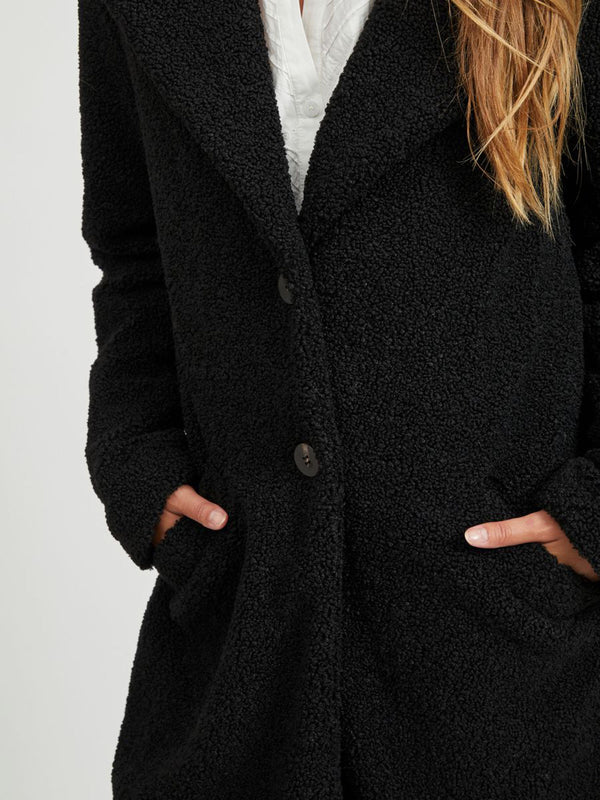 Liosi Teddy Long Coat In Black