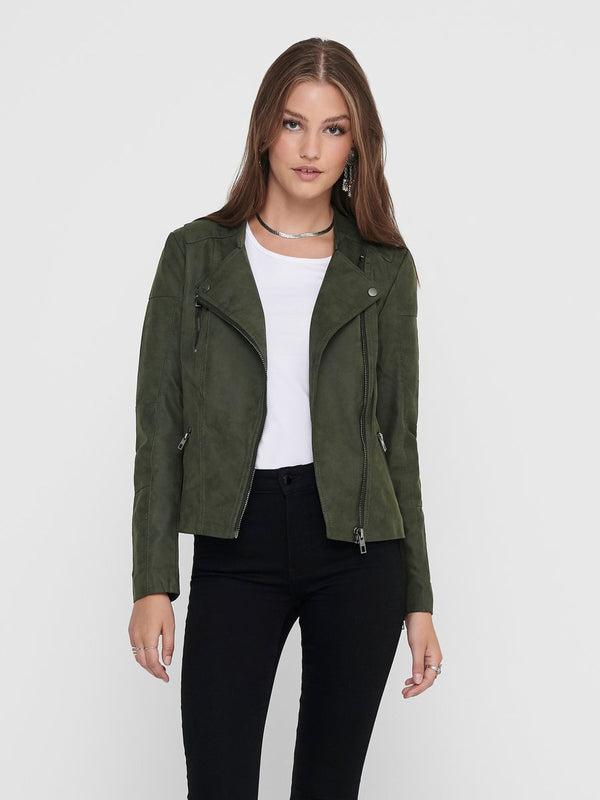 Ava Green Faux Leather Biker Jacket
