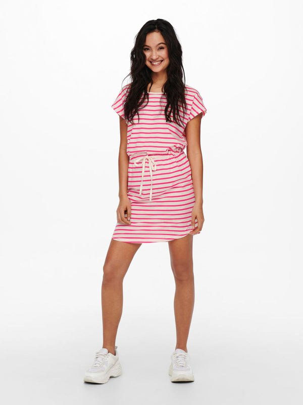 May Cream & Pink Striped Dress