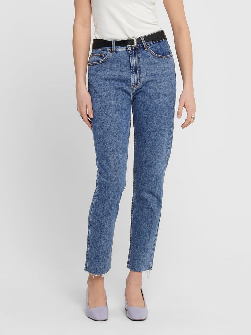 Emily High Waist Straight Fit Jean Blue