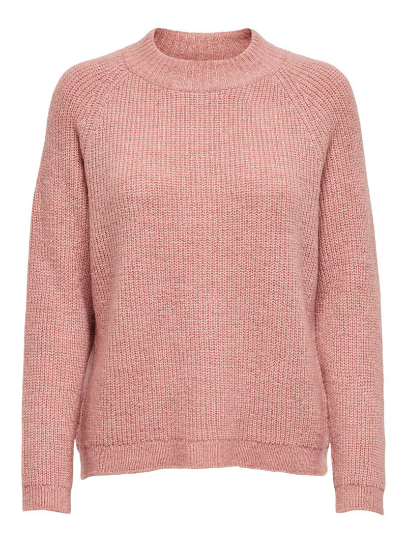 Jade High Knitted Jumper In Rose Pink
