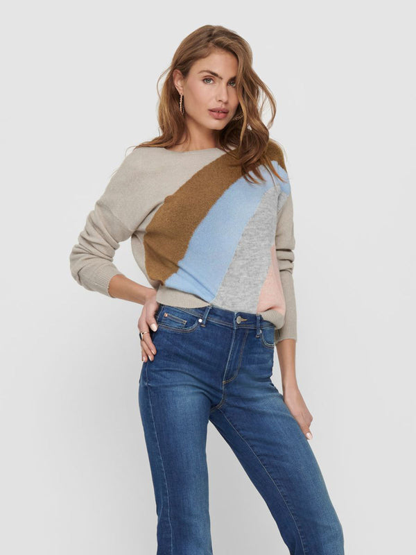 Maeve Multi Striped Knit In Beige