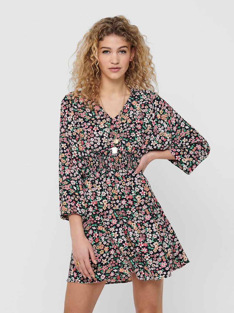 Tamara Navy Floral Printed Dress