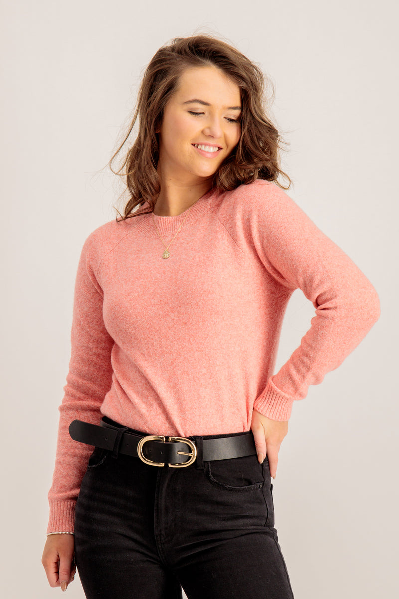 Doffy O Neck Knit In Spiced Coral