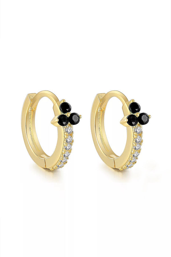 Three Stone 18k Gold Plated Huggies in Black Stone