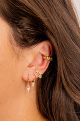 Lightning Hoop 18k Gold Plated Earring