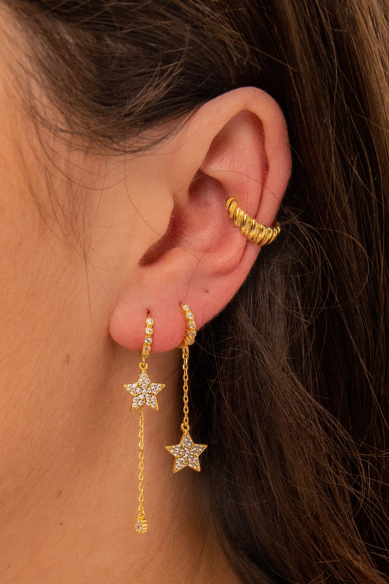 Monica Hanging Star 18k Gold Plated Earrings