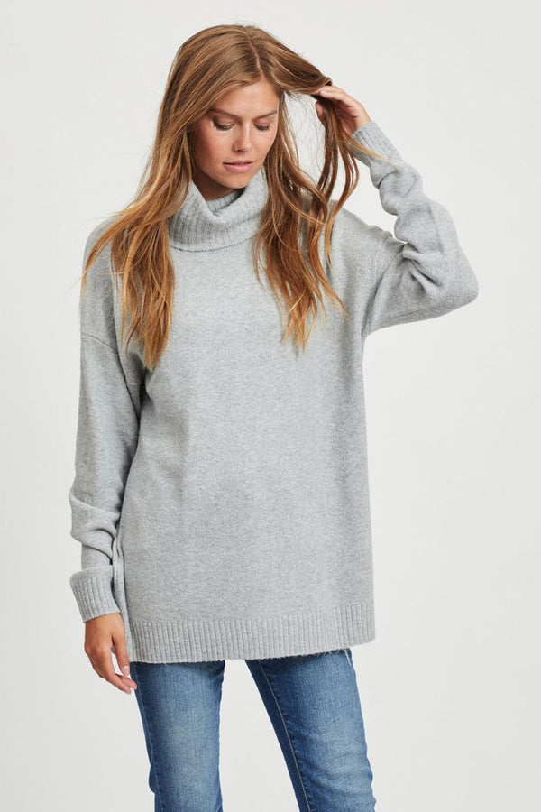 Hanna Roll Neck Knitted Jumper In Grey