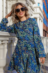 Mia Navy Printed Dress